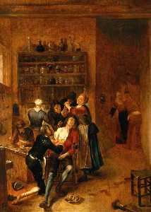 Interior with a Surgeon Attending to a Chest Wound, Oil by Gerrit Lundens  (buy Fine Art Framed Print Gerrit Lundens)