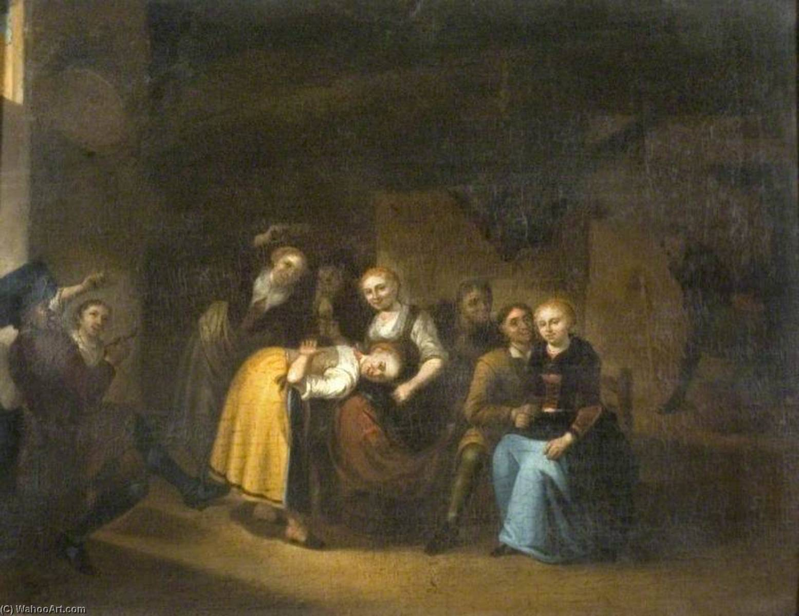 'La main chaude', Dutch Party Playing Games in an Interior, Oil On Panel by Gerrit Lundens (1622-1686)