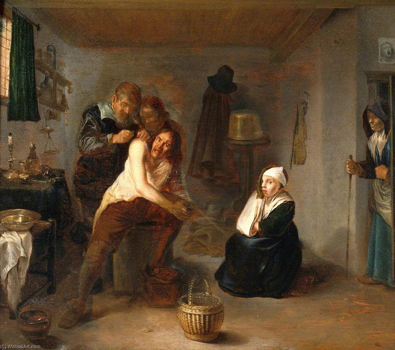 Interior with a Surgeon Operating on a Man`s Back by Gerrit Lundens (1622-1686) | Oil Painting | WahooArt.com