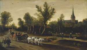Esaias Van De Velde I - Landscape with Riders in a Carriage Passing a Church