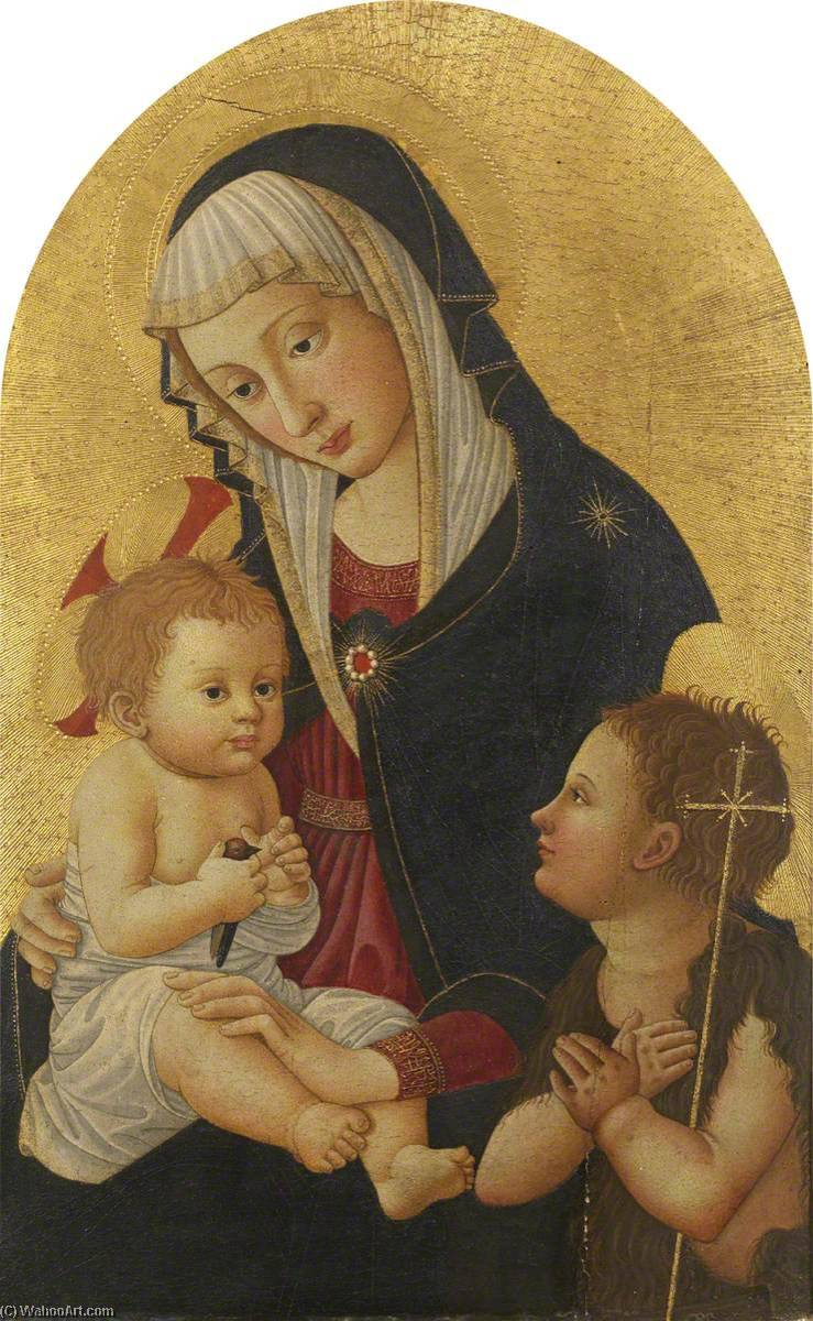 Virgin and Child with a Goldfinch and the Infant Saint John, 1460 by Pseudo Pier Francesco Fiorentino (1444-1497, Italy) | Museum Quality Copies Pseudo Pier Francesco Fiorentino | WahooArt.com
