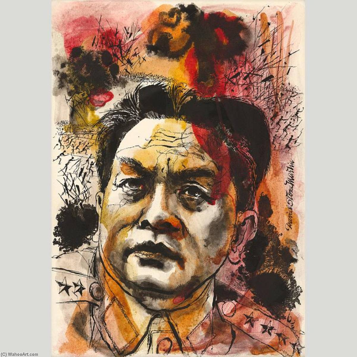 Vo Nguyen Giap, 1968 by David Stone Martin (1913-1992) | Museum Quality Reproductions | WahooArt.com
