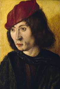 Maitre De Saint Barthelemy - Portrait Bust of an Unknown Young Man in a Red Cap
