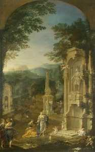Order Museum Quality Reproductions : Allegorical Tomb of Joseph Addison (1642–1719), Essayist and Poet, 1721 by Donato Creti (1671-1749, Italy) | WahooArt.com