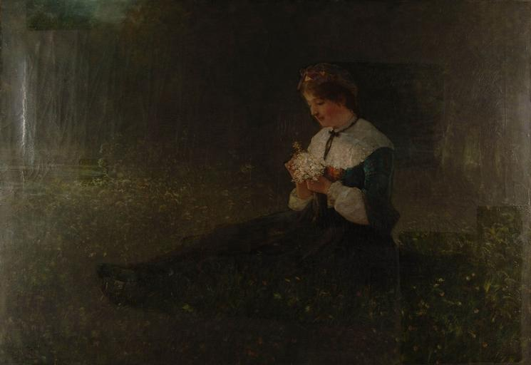 Jeune paysanne assise dans l'herbe, Oil by Gustave Adolphe Jundt (1830-1884)