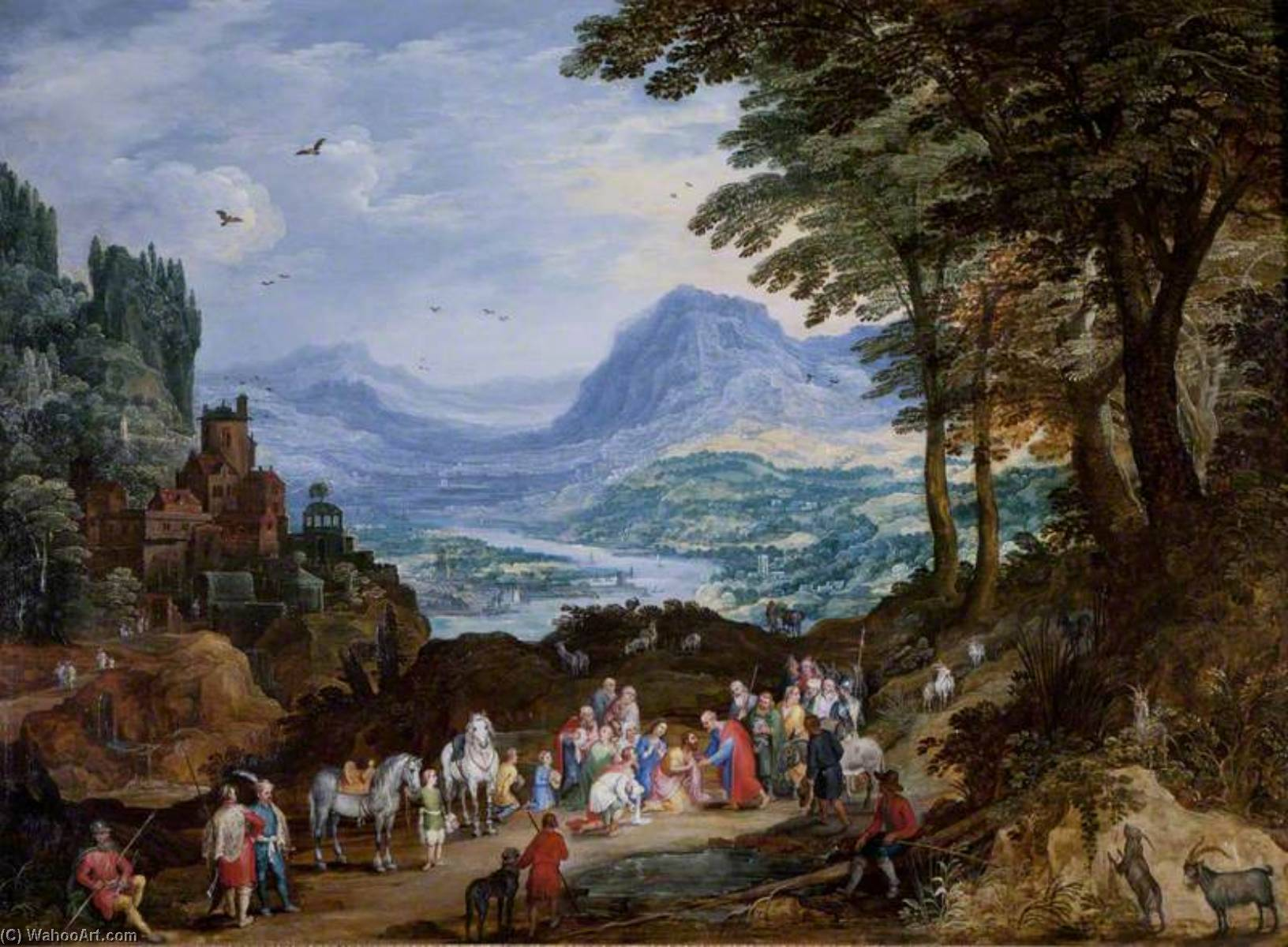 A Mountainous Road Scene with the Story of Saint Peter and Cornelius, Oil On Panel by Joos De Momper The Younger (1564-1635)