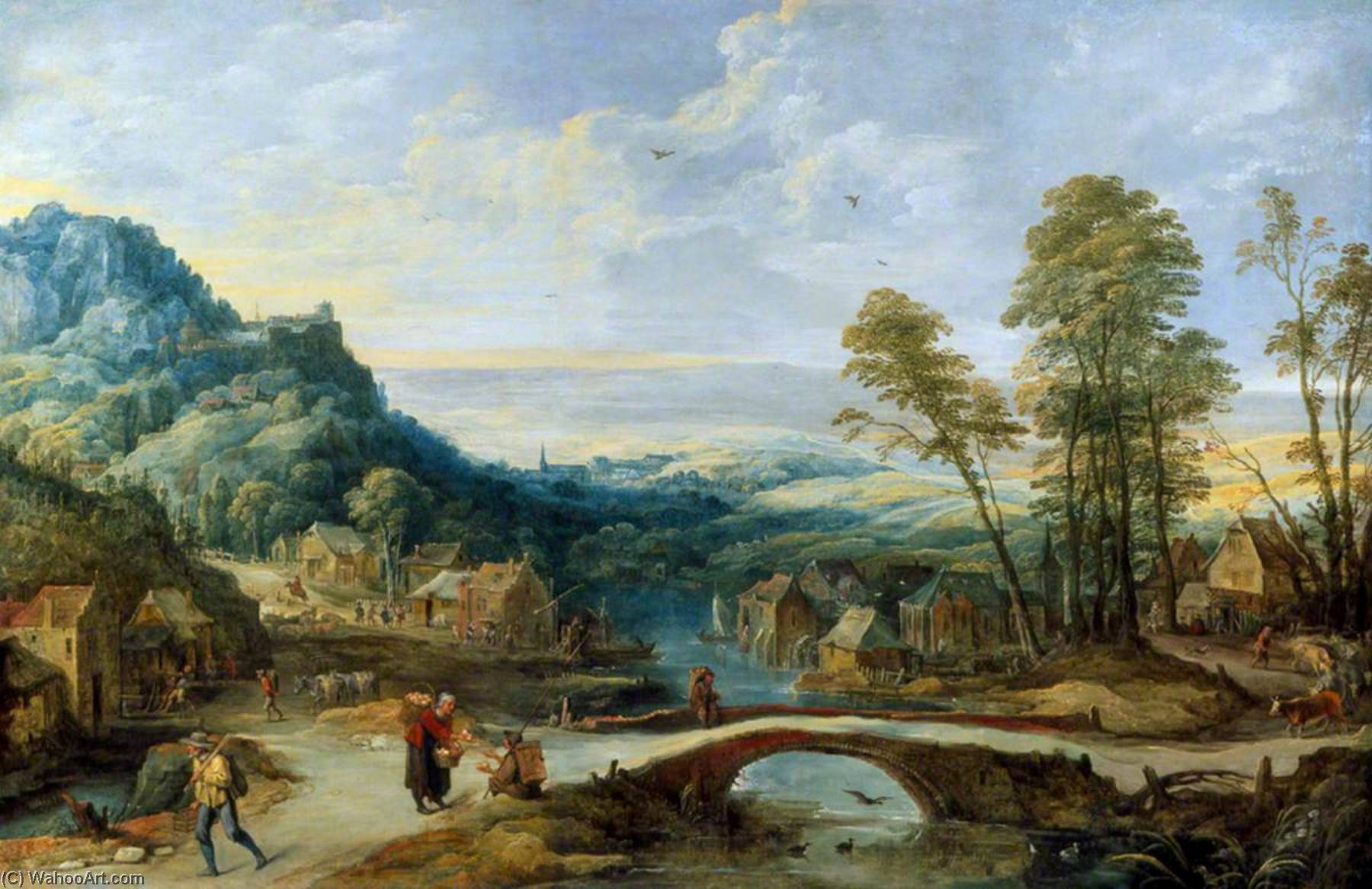 Landscape, Oil On Canvas by Joos De Momper The Younger (1564-1635)
