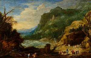 Joos De Momper The Younger - River with Castle, Horsemen and Woodcutters
