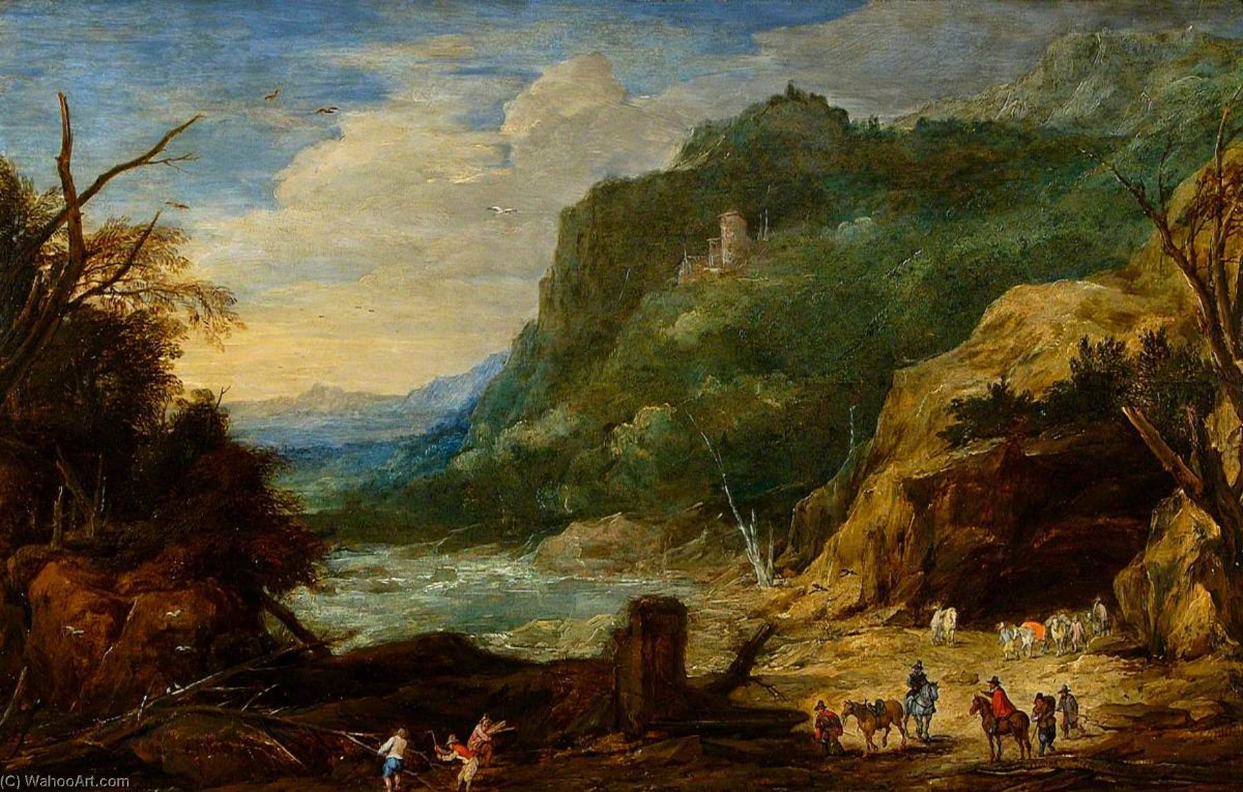 River with Castle, Horsemen and Woodcutters by Joos De Momper The Younger (1564-1635) | Museum Quality Reproductions | WahooArt.com
