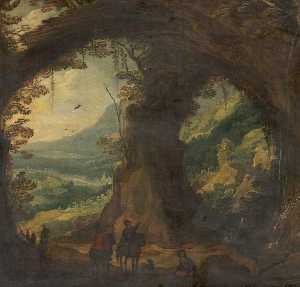 Joos De Momper The Younger - Landscape with Travellers