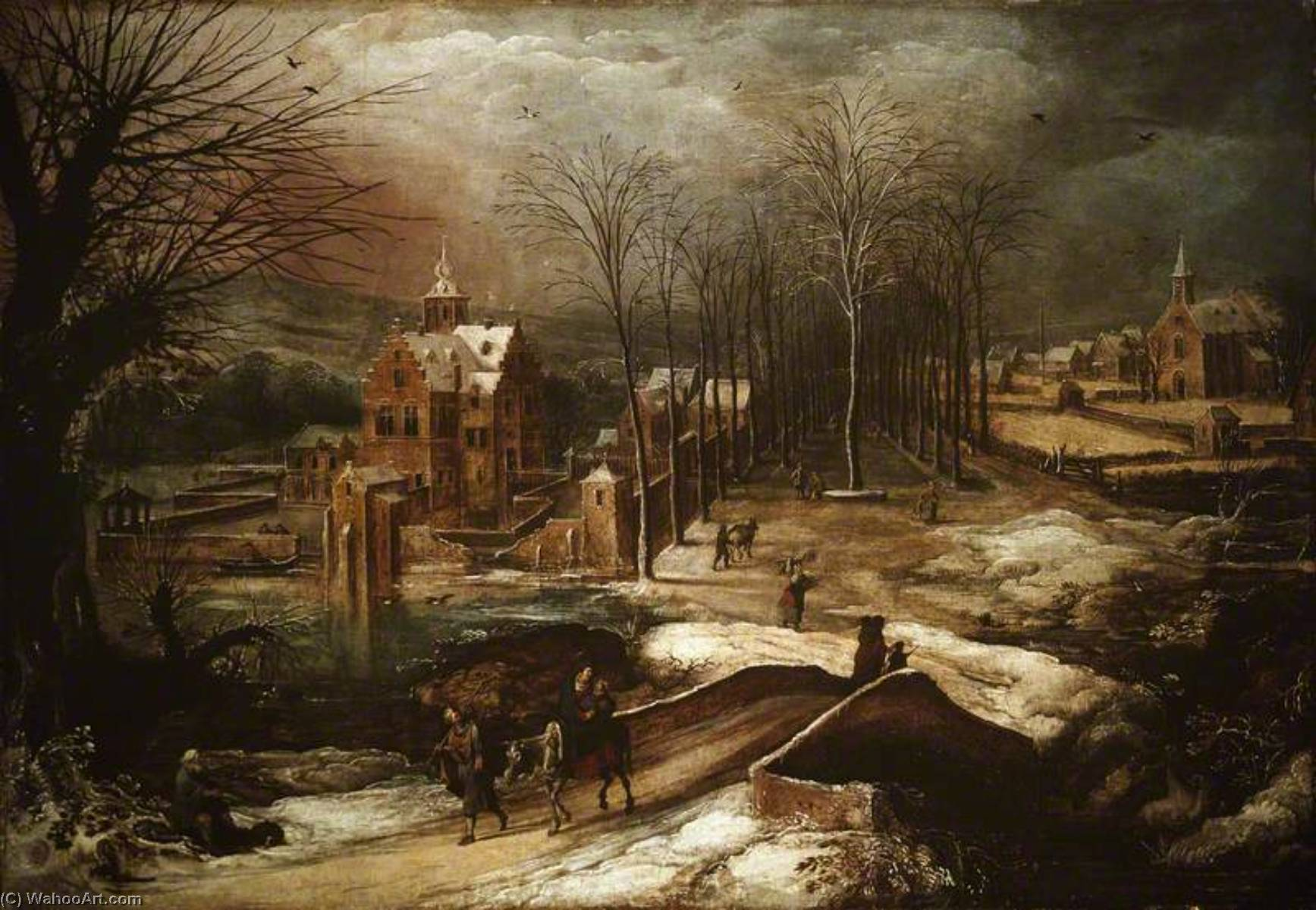 Winter Landscape with the Flight into Egypt by Joos De Momper The Younger (1564-1635) | Famous Paintings Reproductions | WahooArt.com
