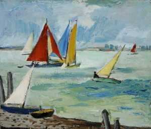 Anne Estelle Rice - Seascape with Sailing Boats (verso)
