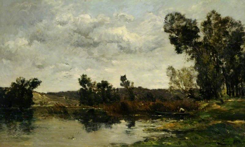 On the River Yonne, France, Oil On Canvas by Maurice Levis (1860-1940)