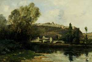 The Old Ramparts, Mailly le Château, France, Oil On Canvas by Maurice Levis  (order Fine Art Hand Painted Oil Painting Maurice Levis)