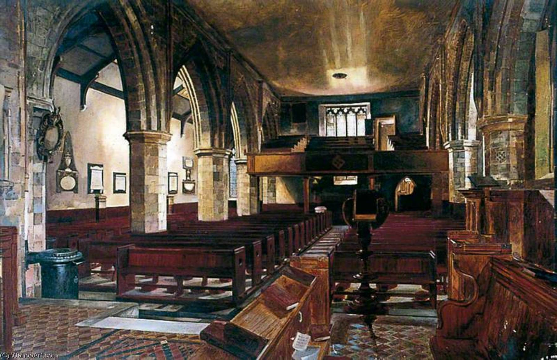 Interior, Holy Trinity Priory, York, Oil On Canvas by Walter Harvey Brook (1863-1943, United Kingdom)