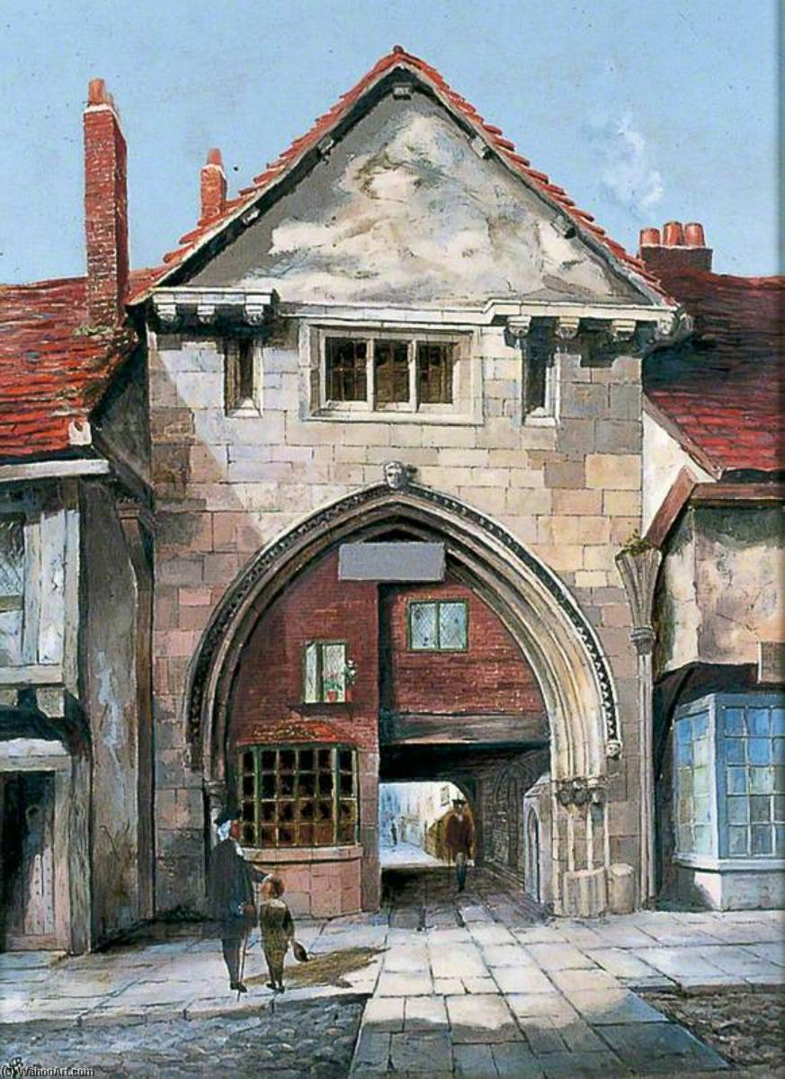 The Gatehouse at Holy Trinity Priory, York, Oil On Canvas by Walter Harvey Brook (1863-1943, United Kingdom)