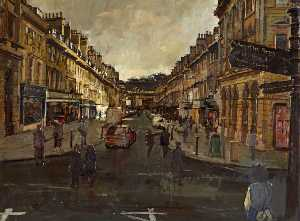 Order Art Reproductions | A Glimpse of Sun on Milsom Street, Bath, 1999 by Peter Brown | WahooArt.com