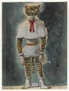 Eugene Berman - The Cat. Costume design for the ballet Le Renard