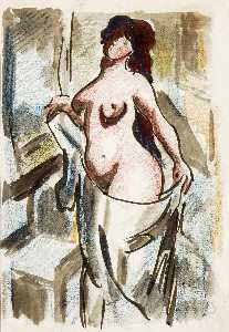 Carl Newman - Female Nude with Drape