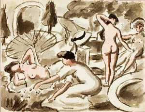 Carl Newman - Group of Nude and Semi Nude Women