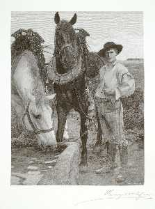 Henry Wolf - Horses at the Watering Trough
