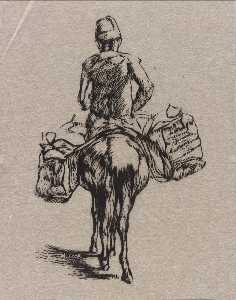 Howard Cook - Man on Mule with Saddle Bags