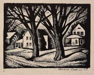 Howard Cook - Street in Snow (Houses in Snow) (Illustration for The Checkerboard)