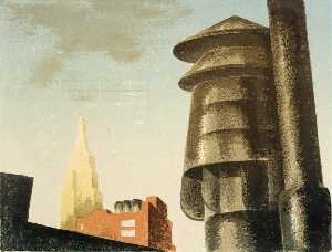 Louis Lozowick - Roofs and Sky