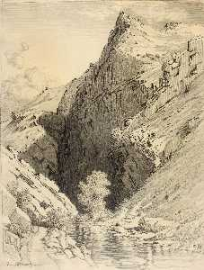 George Elbert Burr - Untitled (transfer drawing for Bear Creek Canyon, Denver, Colorado)