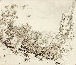 George Elbert Burr - Untitled (transfer drawing for The Edge of the Desert, Arizona)