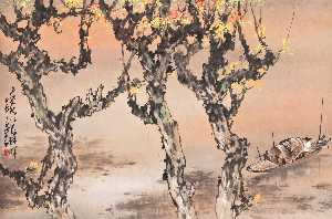 Zhao Shao'ang - AUTUMN SHORE AT SUNSET
