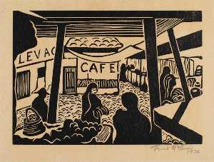Frank Mcclure - Market with Cafe Sign