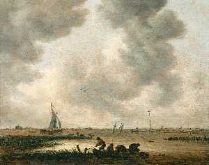 Jan Josefsz Van Goyen - The Haarlemmermeer on a cloudy day, with a distant view of the church of Saint Bavo, Haarlem