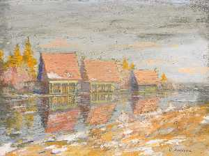 Konstantin Alekseyevich Korovin - Dachas on the River Bank