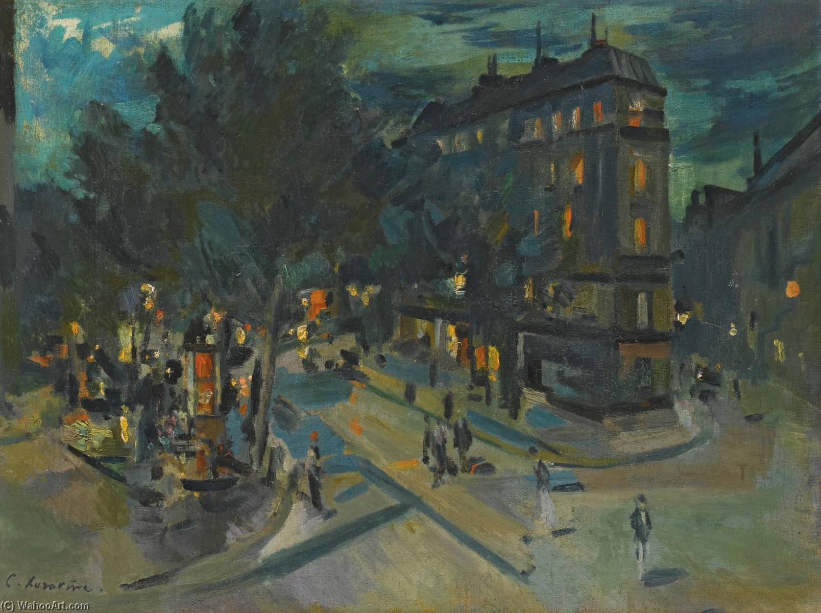Paris at Night by Konstantin Alekseyevich Korovin (1861-1939, Russia) | Art Reproduction | WahooArt.com