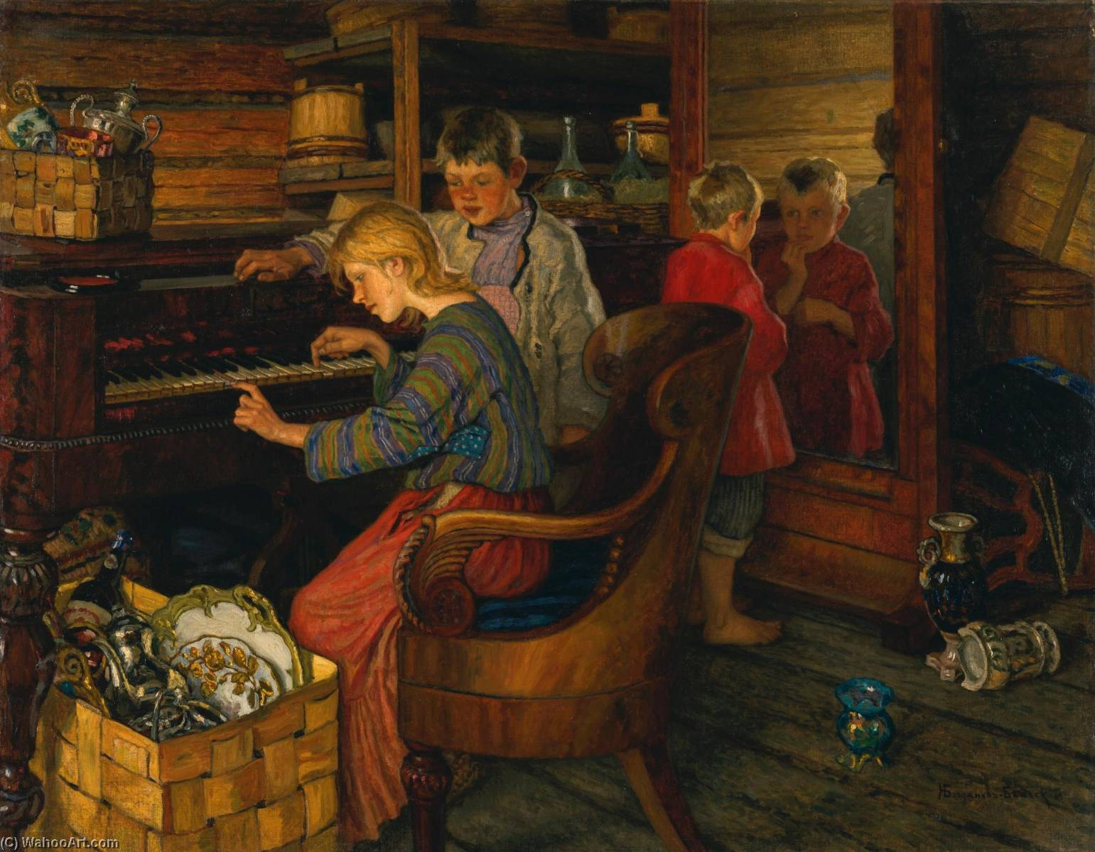 Children by the piano, Oil On Canvas by Nikolai Petrovich Bogdanov Belsky