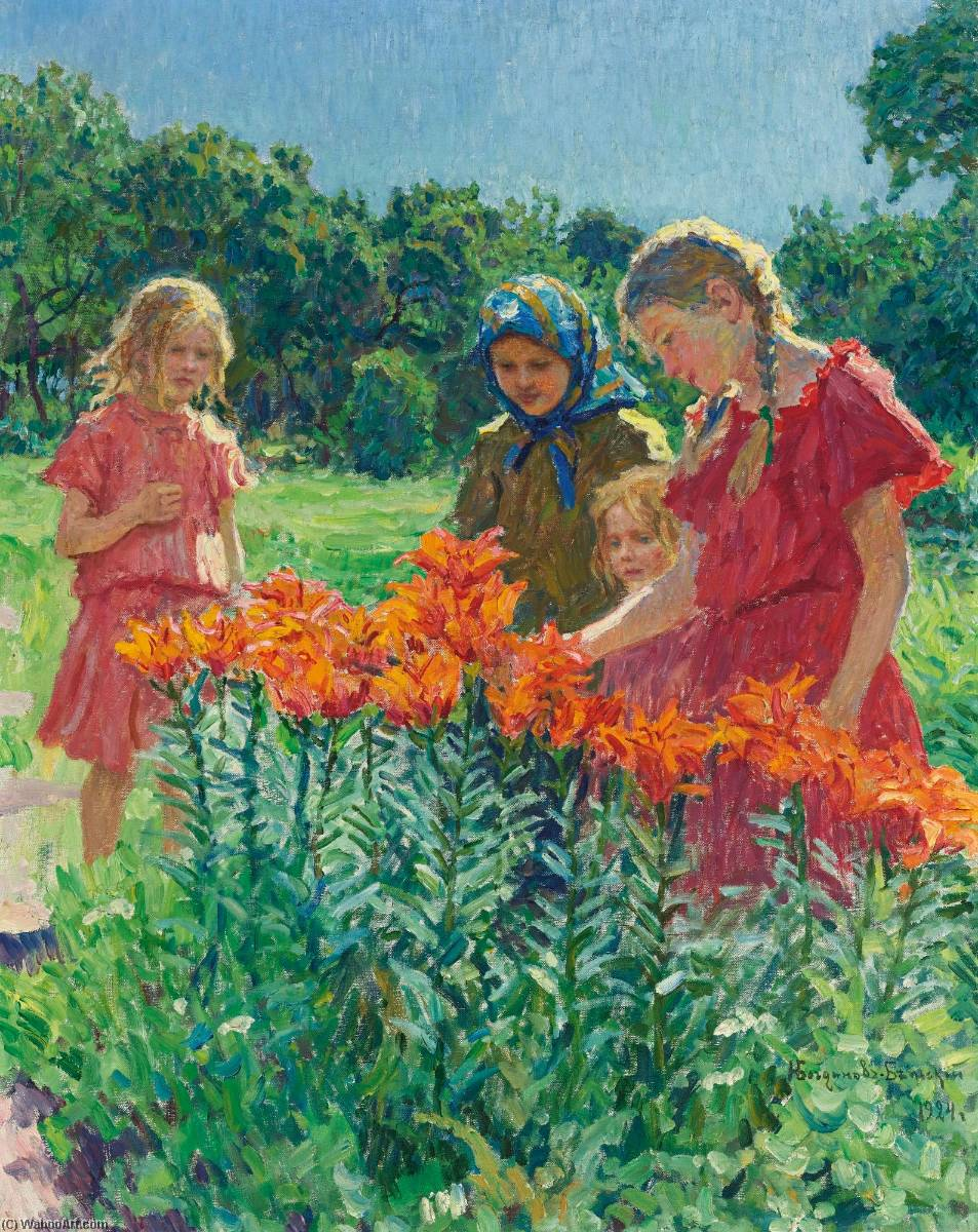 Picking Flowers, Oil On Canvas by Nikolai Petrovich Bogdanov Belsky