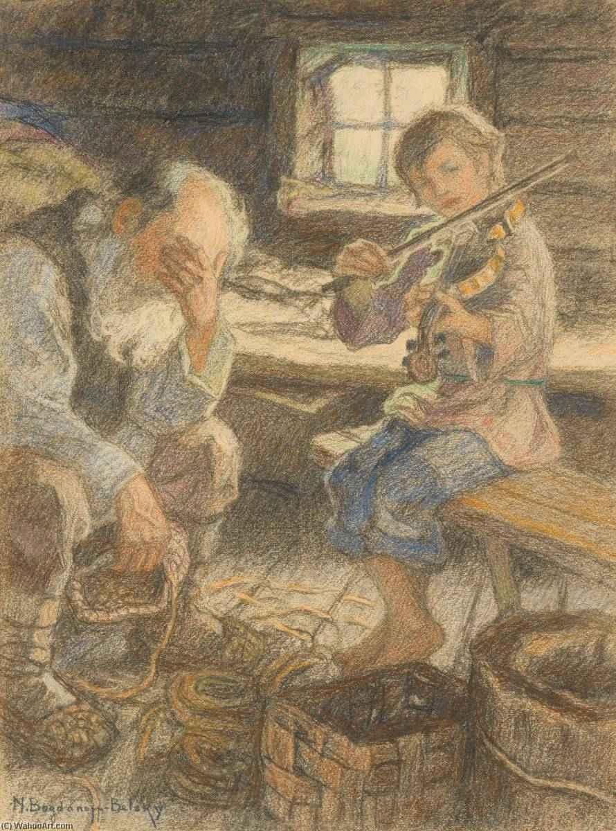 The Talented Musician by Nikolai Petrovich Bogdanov Belsky | Museum Quality Reproductions | WahooArt.com