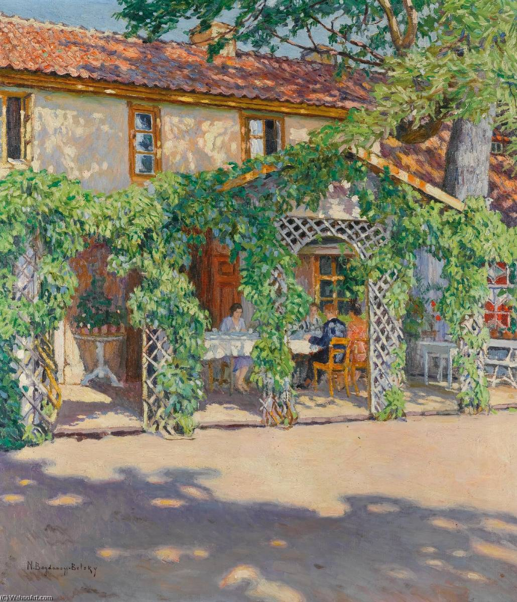 dacha in the summer, Oil On Canvas by Nikolai Petrovich Bogdanov Belsky