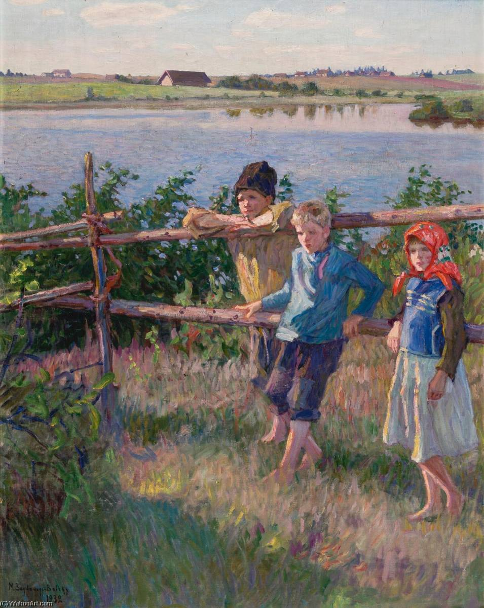 Children by a Lake by Nikolai Petrovich Bogdanov Belsky | Painting Copy | WahooArt.com