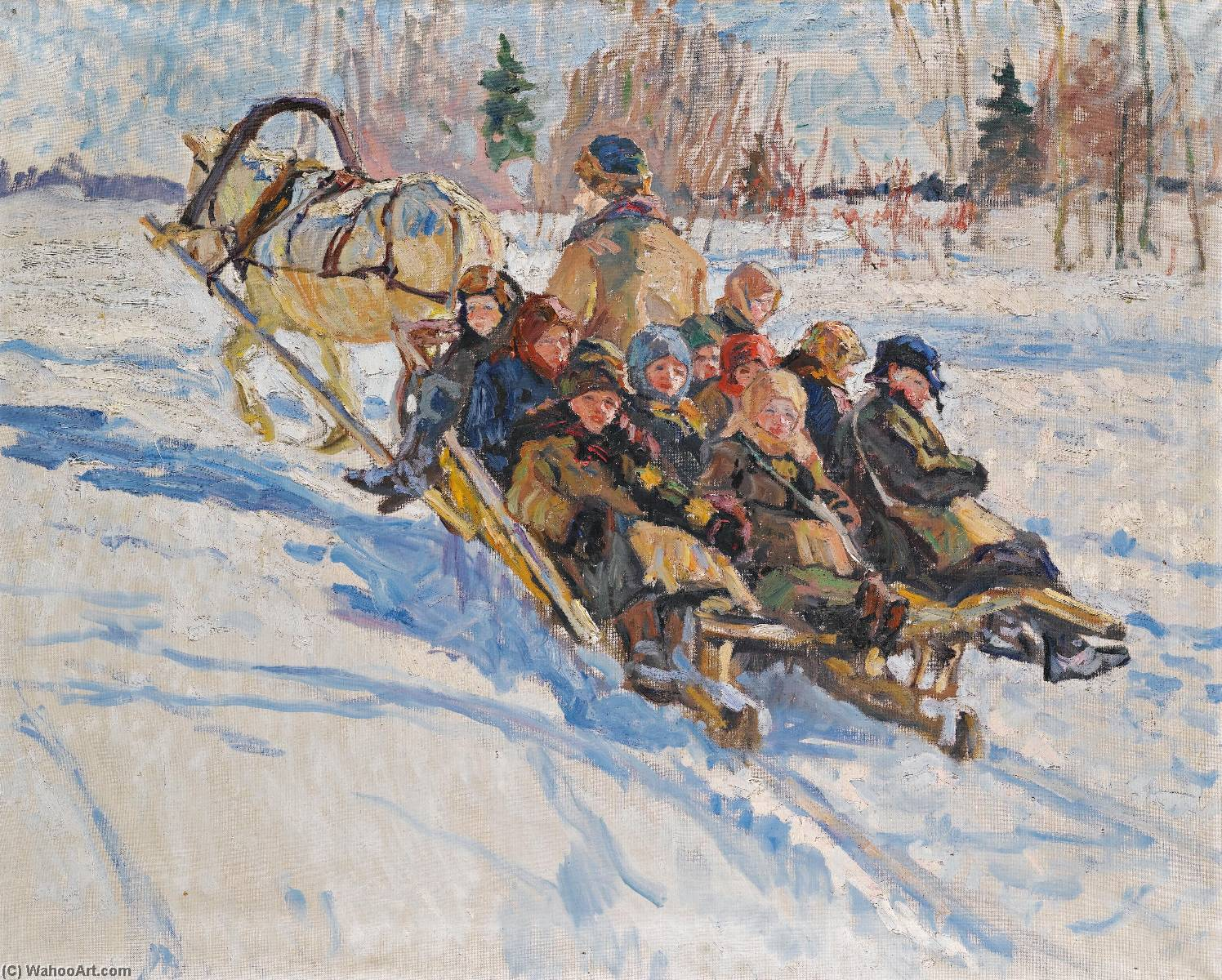 Children Riding in a Sleigh by Nikolai Petrovich Bogdanov Belsky | Painting Copy | WahooArt.com
