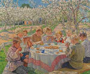 Nikolai Petrovich Bogdanov Belsky - Tea in the Apple Orchard