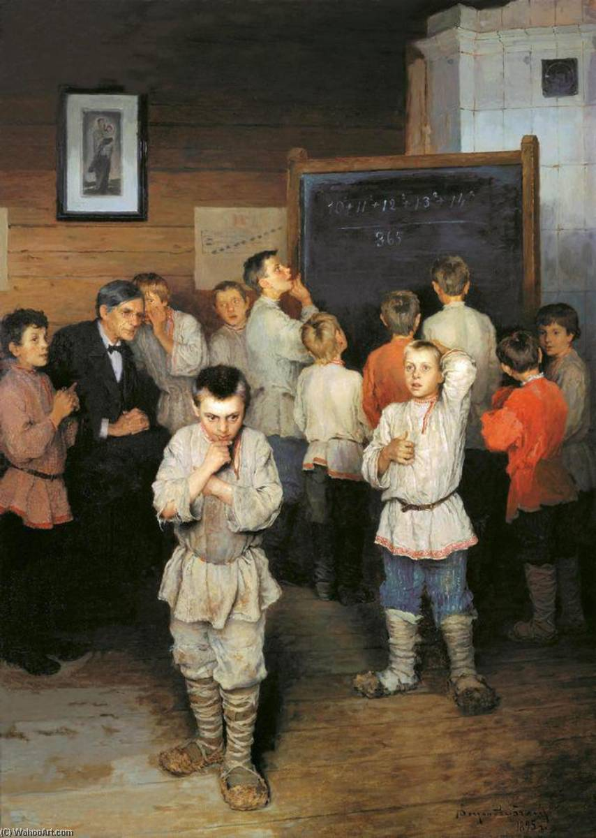 Mental Calculation. In Public School of S. A. Rachinsky, Oil On Canvas by Nikolai Petrovich Bogdanov Belsky