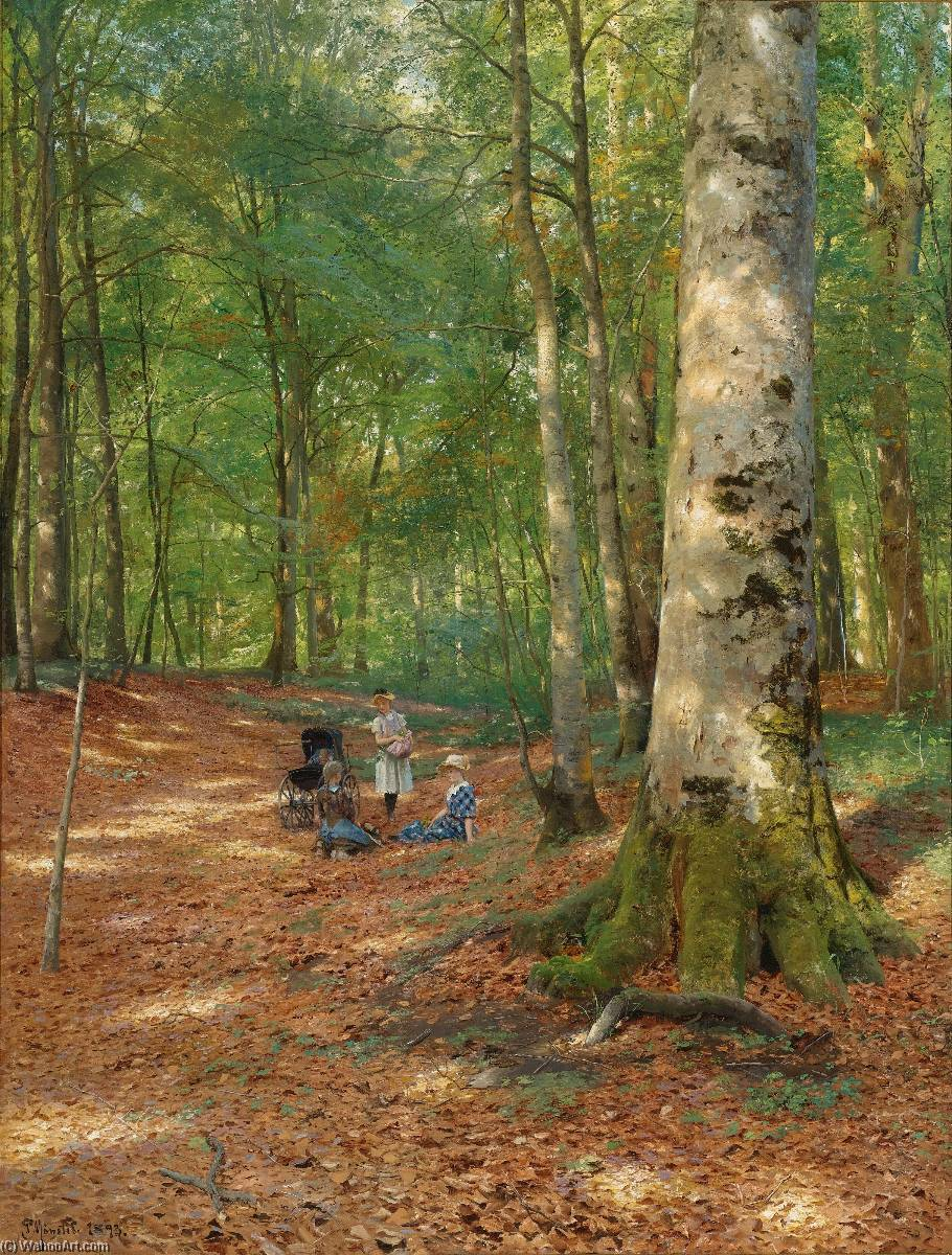 The woodland glade by Peder Mork Monsted (1859-1941, Denmark) | Museum Quality Reproductions | WahooArt.com