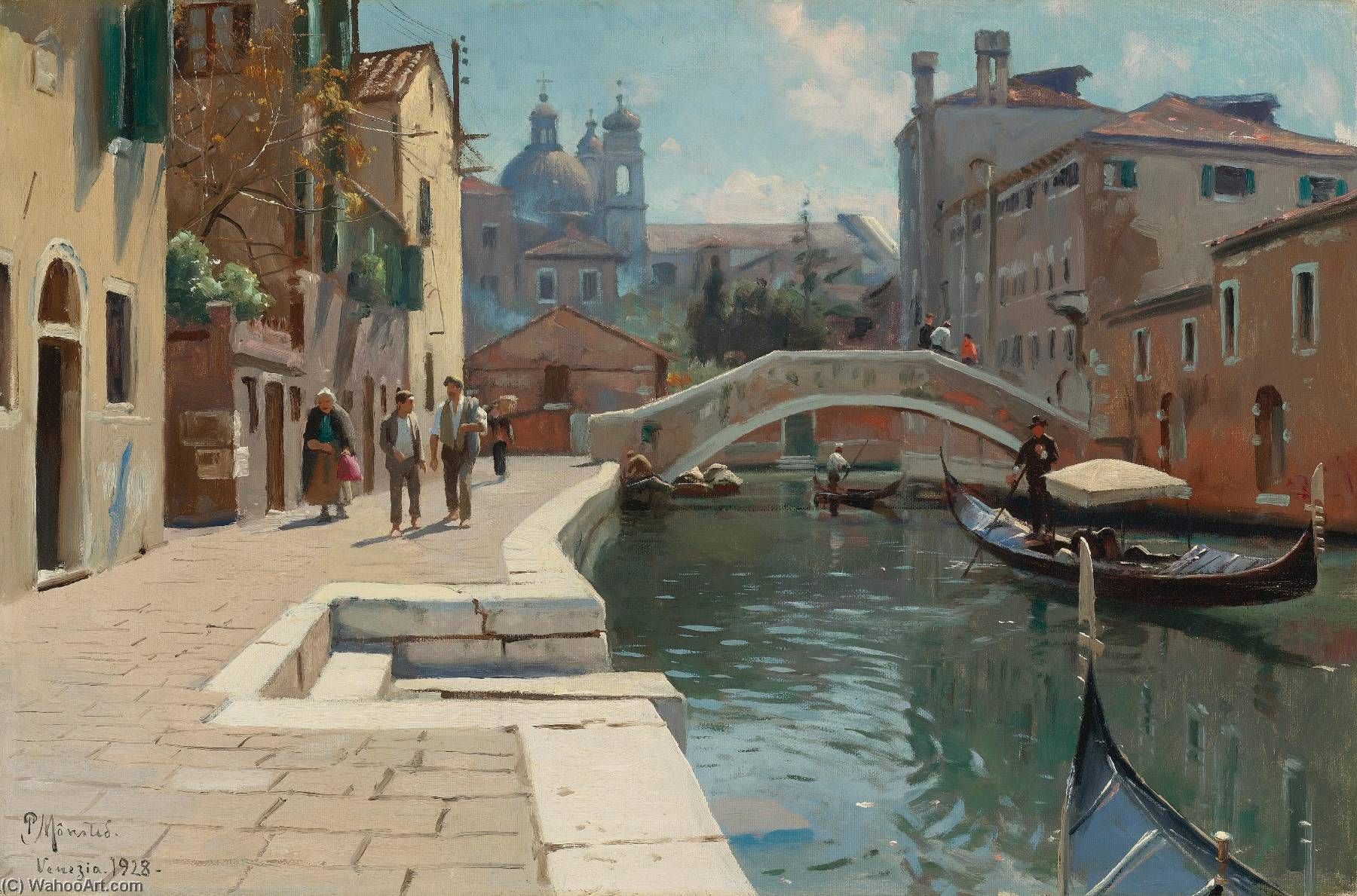 Canal in venice, Oil On Canvas by Peder Mork Monsted (1859-1941, Denmark)