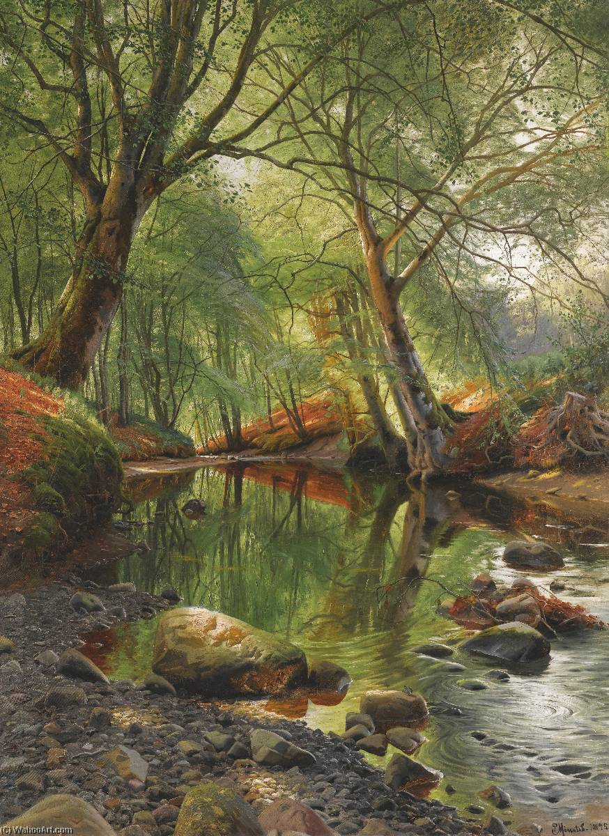 A Woodland Stream, Oil On Canvas by Peder Mork Monsted (1859-1941, Denmark)