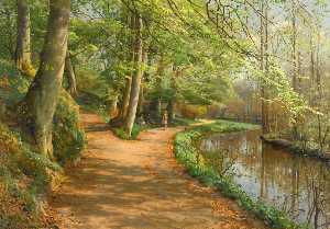 Order Poster On Canvas Children by a Stream by Peder Mork Monsted (1859-1941, Denmark) | WahooArt.com | Order Fine Art Print Children by a Stream by Peder Mork Monsted (1859-1941, Denmark) | WahooArt.com