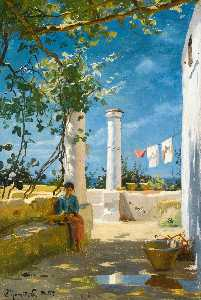 Order Museum Quality Reproductions : Summer in Capri by Peder Mork Monsted (1859-1941, Denmark) | WahooArt.com