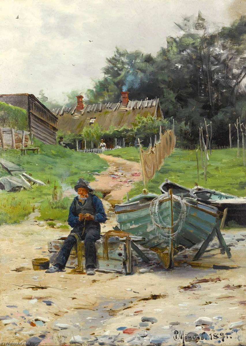 Mending the Nets, Oil by Peder Mork Monsted (1859-1941, Denmark)