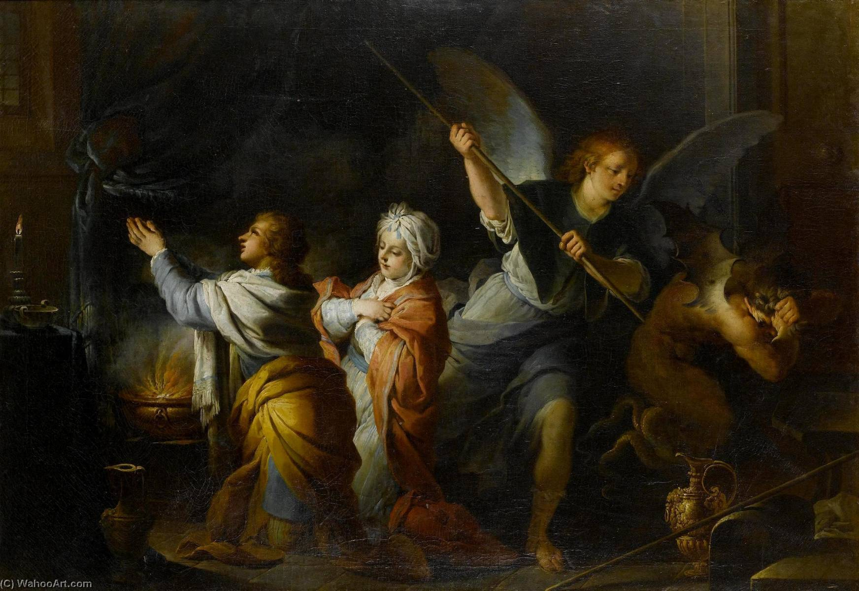 The Marriage of Sarah and Tobias, Oil On Canvas by Charles-André Van Loo (Carle Van Loo) (1705-1765, France)